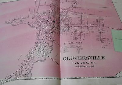 Original 1868 Double Page Map Village Gloversville Ny Residents Listed Fulton Co