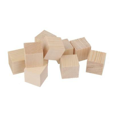 24pcs 30mm Unfinished Wooden Shapes Blocks Cubes Embellishments for Crafts