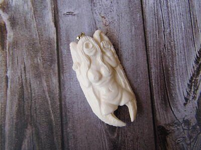 Pendant Necklace Girl Devil One Eye From Buffalo Bone Carved w/ Silver 925_x328