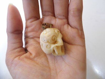 Pendant Necklace Skull Head Tibetian Style From Deer Antler Carved w/ Brass_x35
