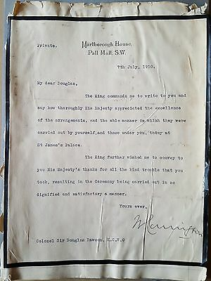 Letter to Sir Douglas Dawson from Marlborough House 1910 Marked Private