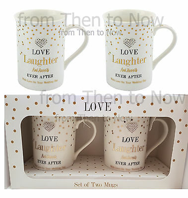 Set of 2 Gold Happily Ever After Herz China Becher Tasse Mr Mrs