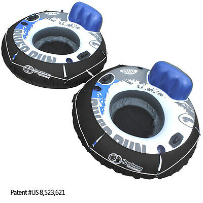 2 Pack Linking Intex River Run I Water Tube Floating Lounger  w/ Covers