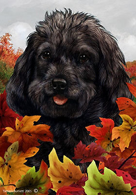 Garden Indoor/Outdoor Fall Flag - Black Cockapoo 132601