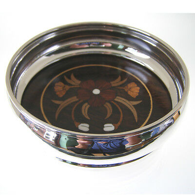 Silver Plated Wine Coaster With Inlaid Rosewood Base. Brand New Wine Coaster