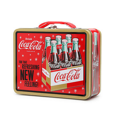 Retro Embossed Coca Cola Lunch Box Drink Coke - Red