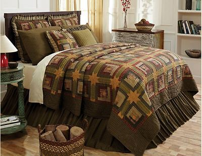 TEA CABIN Cal King QUILT : PRIMITIVE GREEN RED STAR AMERICAN RUSTIC LUXURY