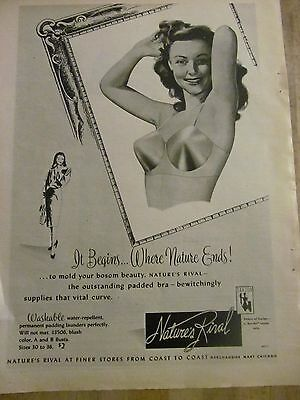 Nature's Rival, Bras, Bra, Full Page Vintage Print Ad