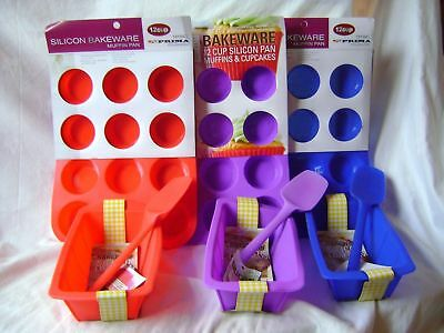 New Silicone Cake Baking 3 Set Loaf Spoon & 12 Muffin Mould Red Blue Or Purple