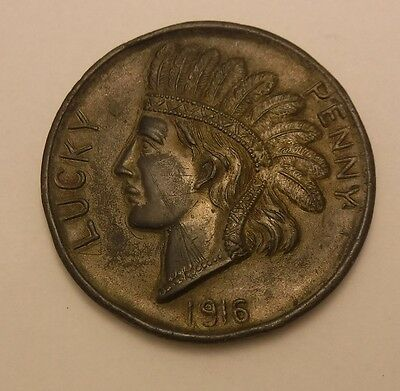 "Antique Detroit Large 2 7/8"" Indian Head Penny Paperweight 1916"