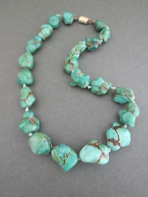 Vintage Chinese Turquoise Necklace Gold Plated Clasp