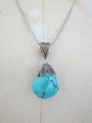 Vintage Chinese Turquoise Silver Filigree Large Pendant