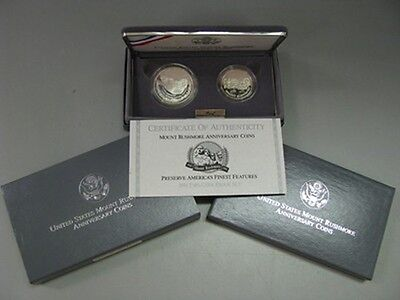 1991 Mt Rushmore Proof Silver Dollar and Half Coin Set US Mint Commemorative