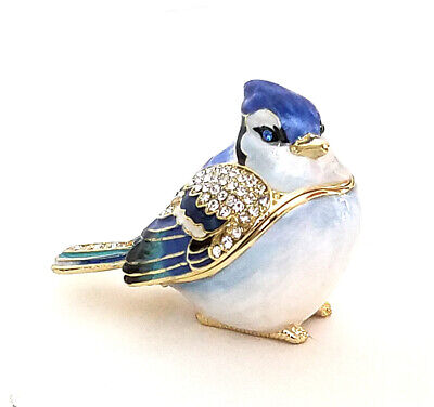 Kingspoint Betty Blue Jay  Pewter  Bejeweled Hinged Trinket / Jewelry  Box