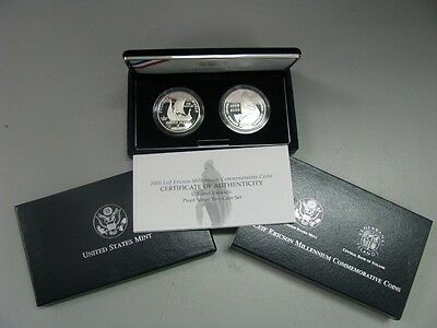 2000 Leif Ericson US & Icelandic Proof Silver 2 Coin Commemorative Set
