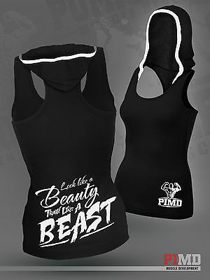 PIMD Women Vest With Hood - Black Cotton Gym Fitness Beast Top Female Fitness