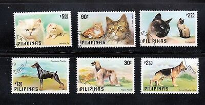 Doberman, Afghan Dog, Chinchilla, Siamese Cats Set of 6, Philippines Sc 1425-80