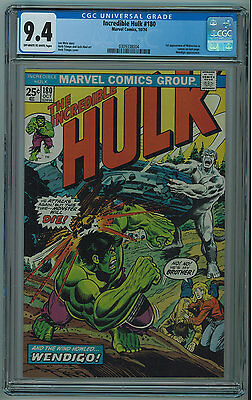 Hulk #180 Cgc 9.4 First Wolverine In Cameo Off-White To White Pages 1978