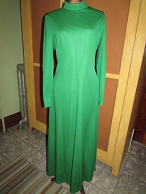 Vintage 70s Shamrock GREEN Maxi DRESS Leslie Fay Long Sleeves Evening Gown M-L