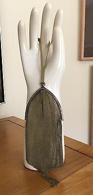 Antique Gold Tone Victorian Floral Engraved Frame On Gold Mesh Purse