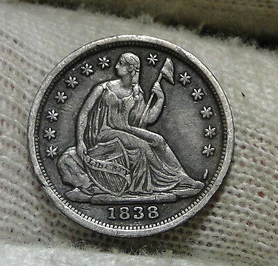 1838 Seated Liberty Half Dime H10C No Drapery - Nice Coin, Free Shipping (6018)