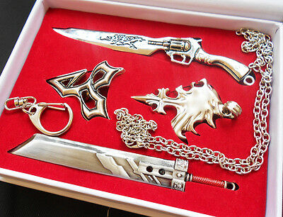 Anime Final Fantasy Necklace Key chain Weapon Set 4 Set New