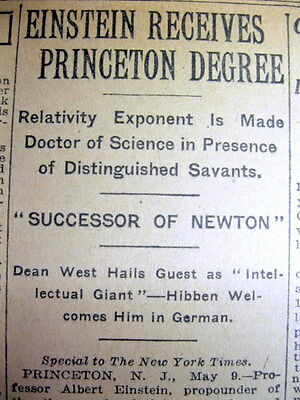 1921 NY Times newspaper ALBERT EINSTEIN recieves degree frm PRINCETON UNIVERSITY
