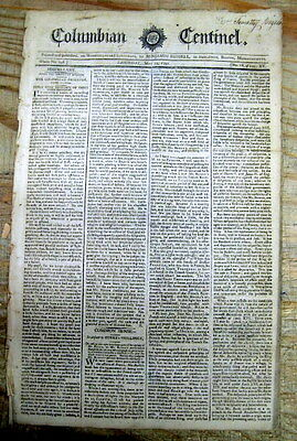1791 newspaper Early meeting SOCIETY of the CINCINNATI PHILADELPHIA Pennsylvania