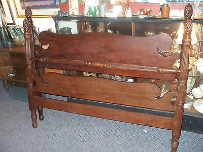 Mahogany Full Size Standard Double 3/4 Pineapple Post Poster Bed Vintage Antique