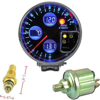 "5"" Digital Led Rpm Tacho Meter Gauge Water Temperature Oil Pressure Voltage Au"
