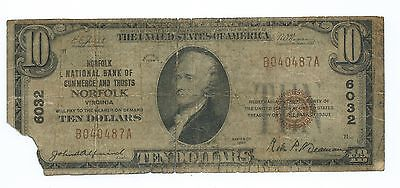 1929 $10.00 National Banknote - National Bank Of Commerce And Trusts Norfolk, Va