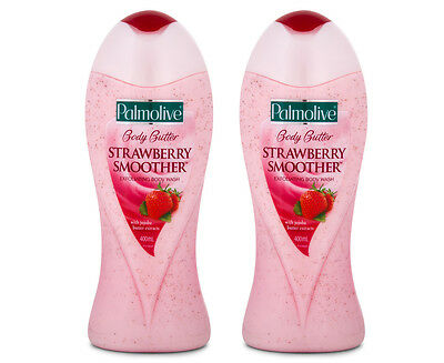 2 x Palmolive Body Butter Strawberry Smoother Body Wash 400mL