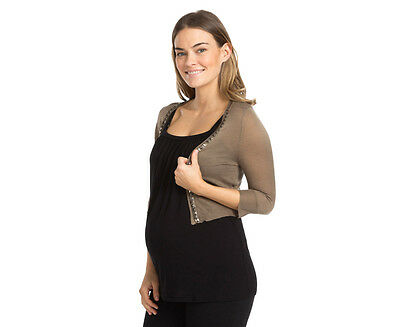 Ripe Maternity Cairo Cropped Cardigan - Linseed