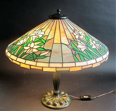 "Fine & Large DUFFNER & KIMBERLY Leaded Glass Lamp  22"" Shade!!!  c. 1915 antique"