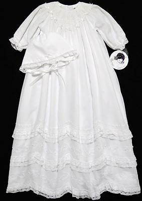 "Sarah Louise 3M Girls 31"" Smocked White Voile Christening Gown W/bonnet~Nwt"