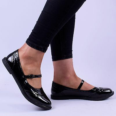 womens ladies mary jane flat patent school work office style buckle shoe size