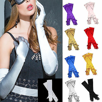 Promotions LADIES LONG EVENING FINGER GLOVES SATIN CHARLESTON PARTY DRESS PROM