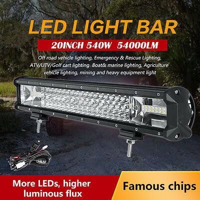"23"" 648W PHILIPS Spot&Flood Tri-rows LED WORK LIGHT BAR Offroad 4WD UTE Driving"