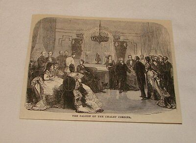 1877 magazine engraving ~ THE SALOON OF CHALET CORDIER, France