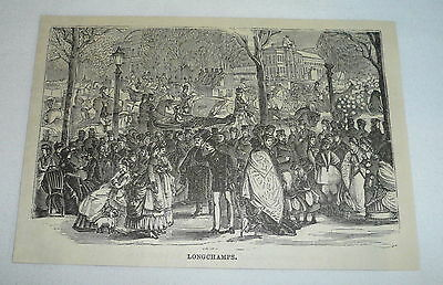 1877 magazine engraving ~ LONGCHAMPS Paris