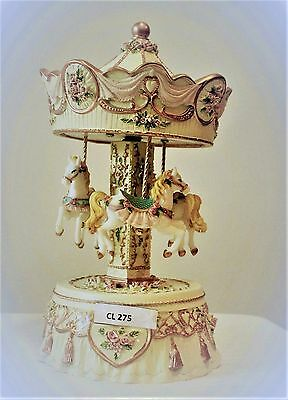 "Cream  Musical Carousel  21Cms/8.5""    Present Bnib Plays Kiss The Rain"