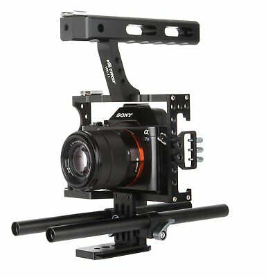 DSLR 15mm Rod Rig Camera Video Cage Kit+Top Handle Grip for Sony A7SII A6500 A7r