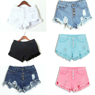 6 Colors Summer Women High Waisted Washed Ripped Hole Short Jeans Denim Shorts