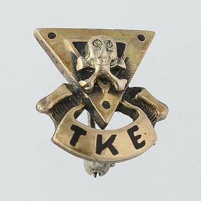 Tau Kappa Epsilon Pin - Vintage Skull Fraternity Badge Greek Society