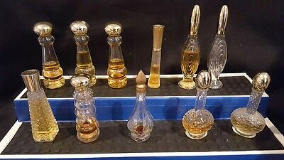 Mixed Lot of 11 Glass  Perfume Bottles, Mixed Fragrances