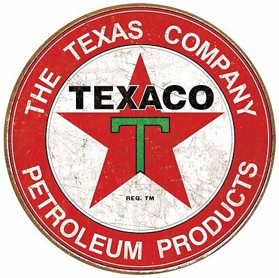 "Texaco The Texas Company Vintage Round Tin Sign 12"" x 12"""
