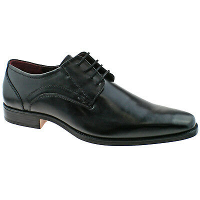 Mens Lotus Huntington Black Leather Memory Foam Office School Wedding Shoes