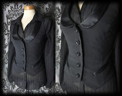 Goth Black Satin Trim PENITENCE Fitted Corset Waistcoat 10 12 Victorian Vintage