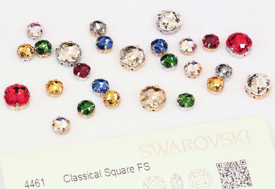Genuine SWAROVSKI 4461 Square Fancy Crystals with Sew On Metal Settings