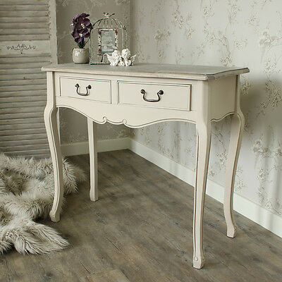 2 drawer console table dressing french shabby chic distressed driftwood distress